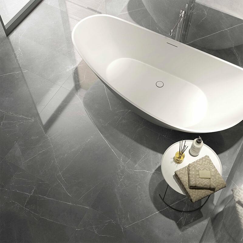 Dalles Marbre Gris pierre wall tuile floor toronto bathroom shower canada