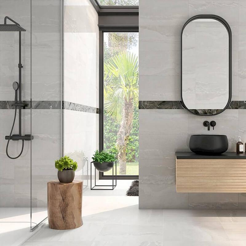 tuile pierre blanche wall tile floor toronto ontario bathroom shower