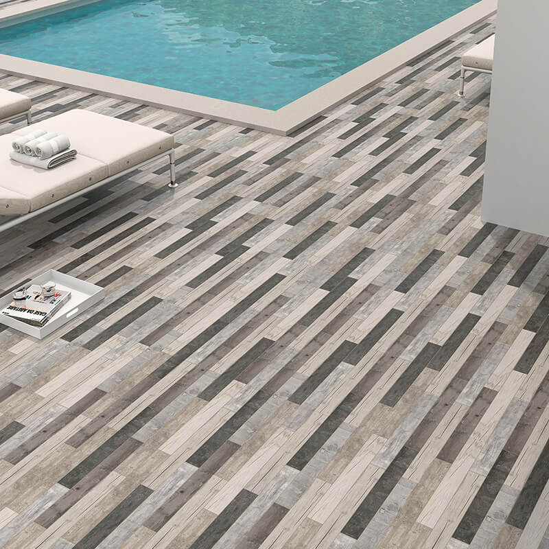 tuile bois rustique gris vintage shabby chic wall tile floor ontario swimming pool canada