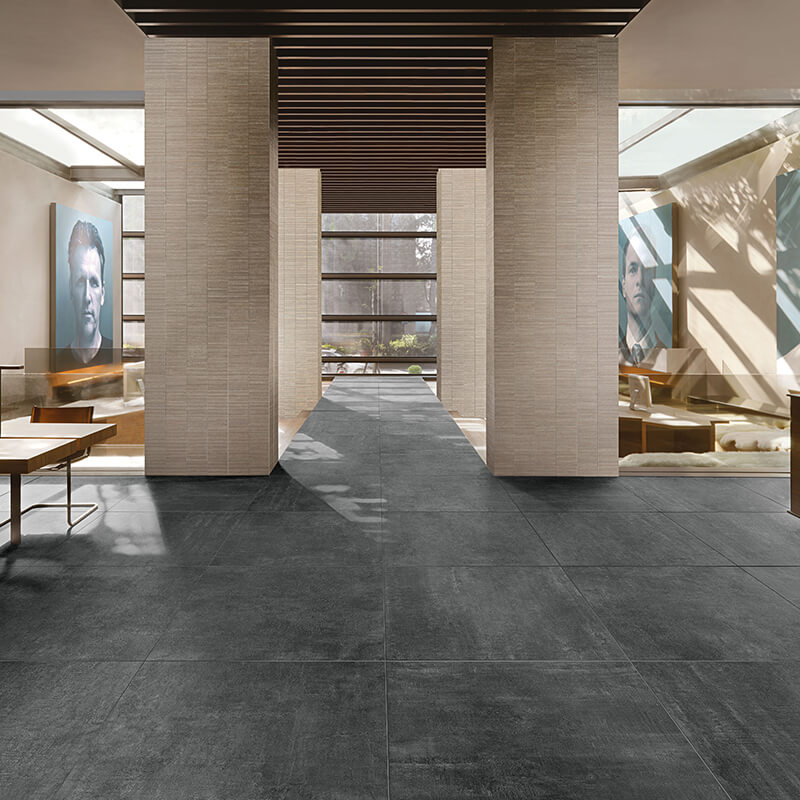 black concrete wall tuile floor bathroom shower toronto
