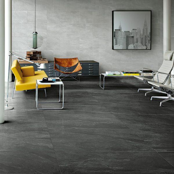 black grey stone tile wall floor italy toronto kitchen backsplash