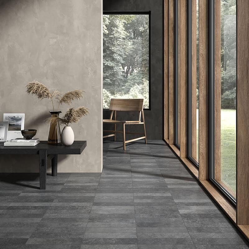 black stone concrete wall tuile floor backsplash shower toronto
