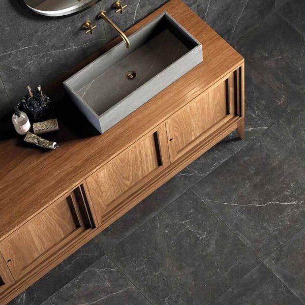 black stone wall tuile floor bathroom shower canada