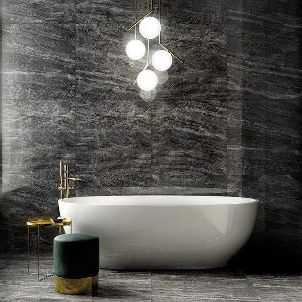 black stone wall tile floor bathroom shower ontario canada