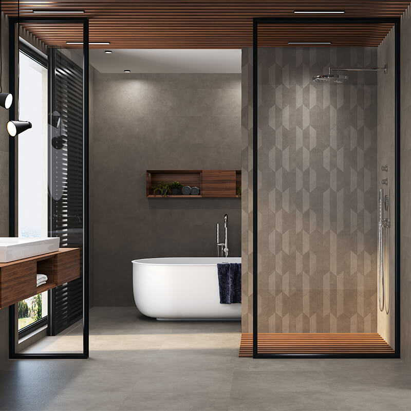 dark grey wall tile floor bathroom shower toronto
