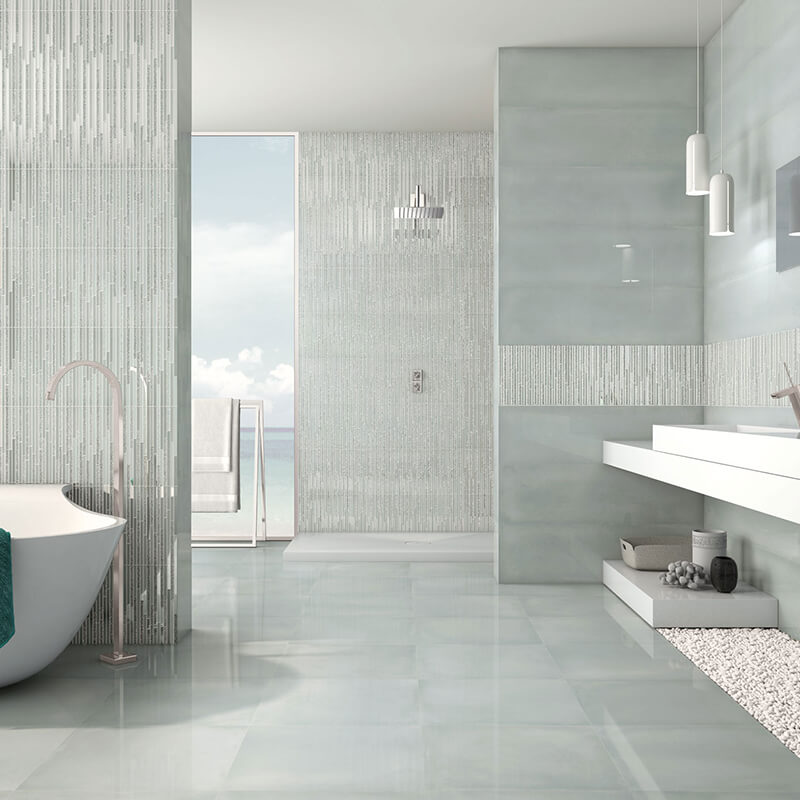 green accent wall tuile floor bathroom shower decor canada