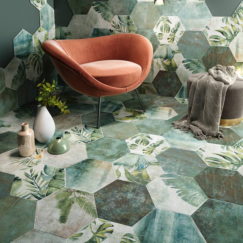 green white decor hexagon wall floor tile canada ontario toronto