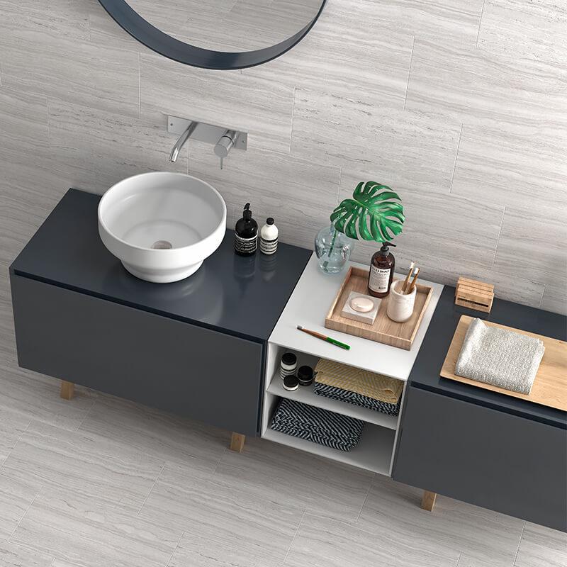 grey bathroom shower stone flooring wall tile ontario
