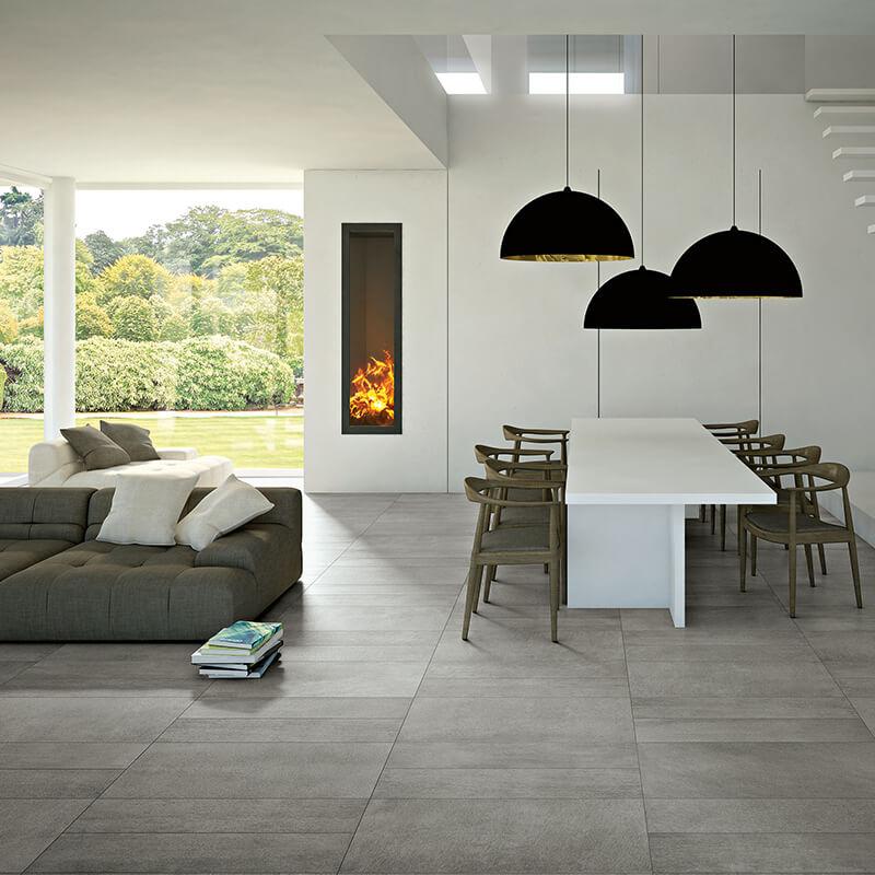 grey concrete cement stone wall tuile floor kitchen backsplash ontario