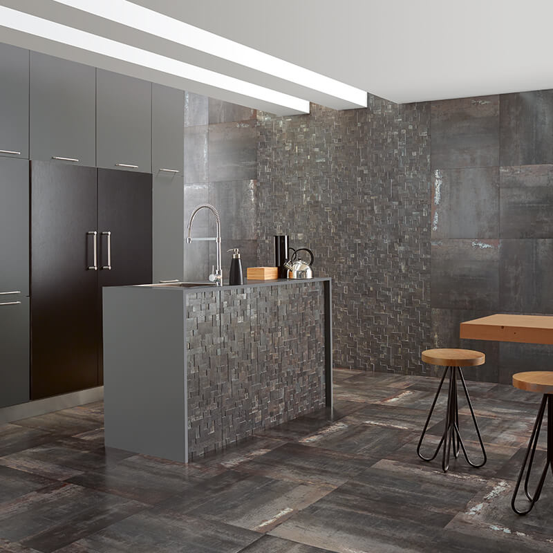 iron metallic wall tuile floor kitchen decor backsplash island toronto