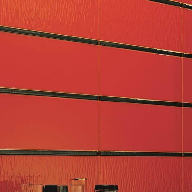 red accent wall tile decor bathroom shower toronto ontario canada