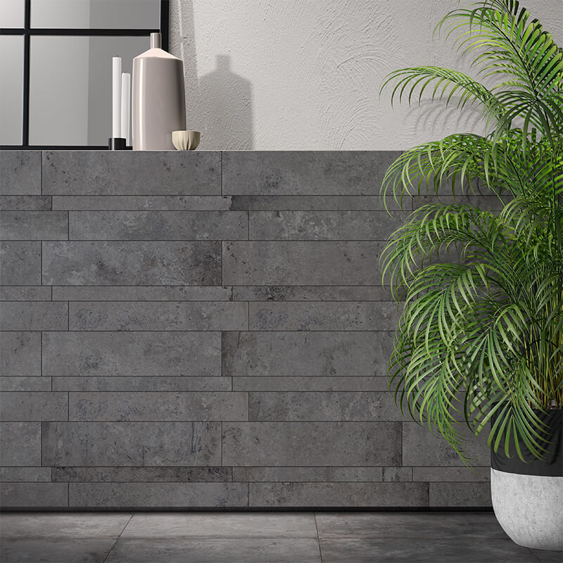 rustic grey stone brick wall tile kitchen backsplash ontario canada