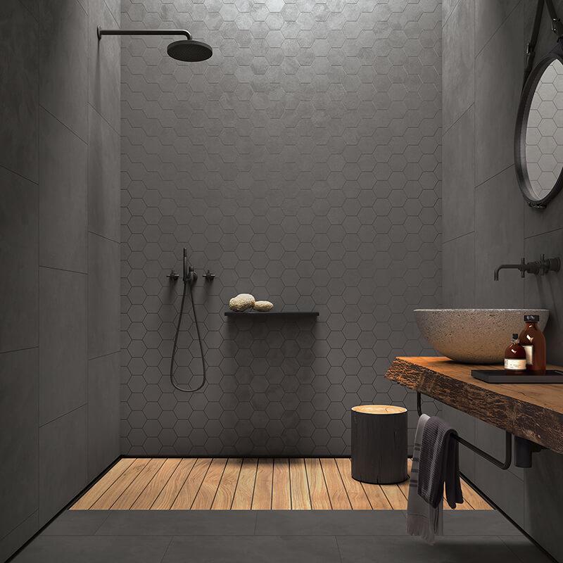 tuile beton shower dark grey hexagon tile concrete cement wall tile floor toronto ontario