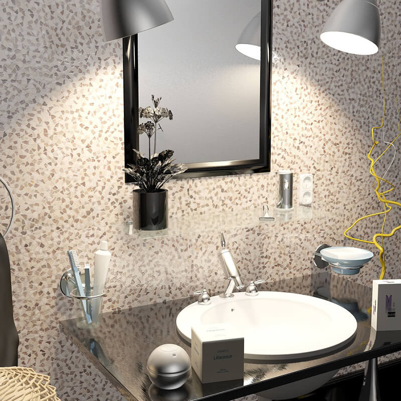 pierre wall tile floor accent fireplace decor flat pebble bathroom shower toronto