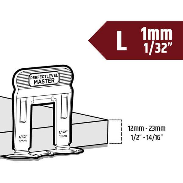 t lock clip 1mm large tile levelling