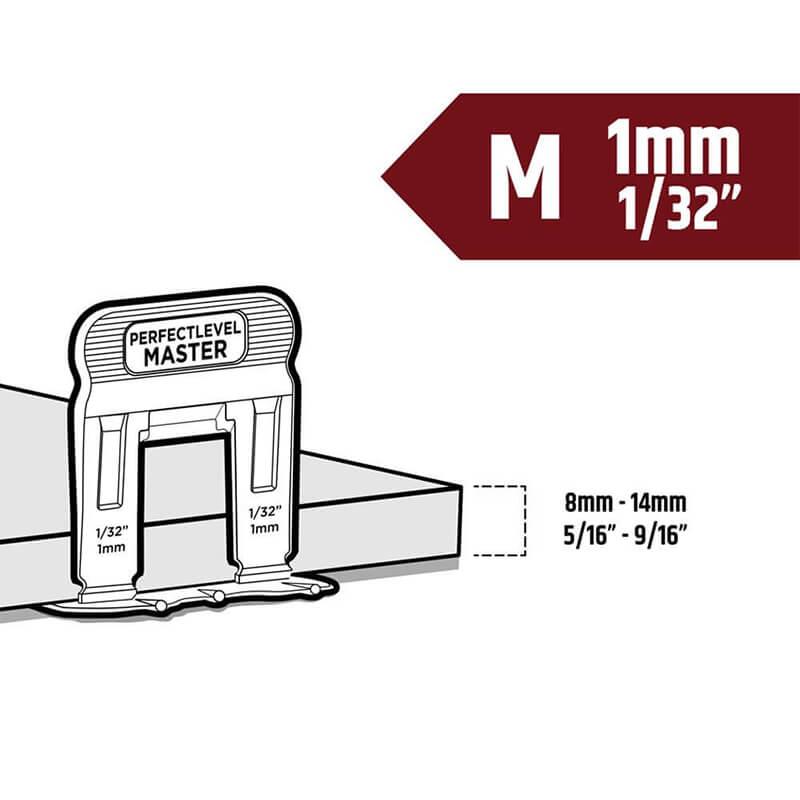 t lock clip 1mm medium tile levelling