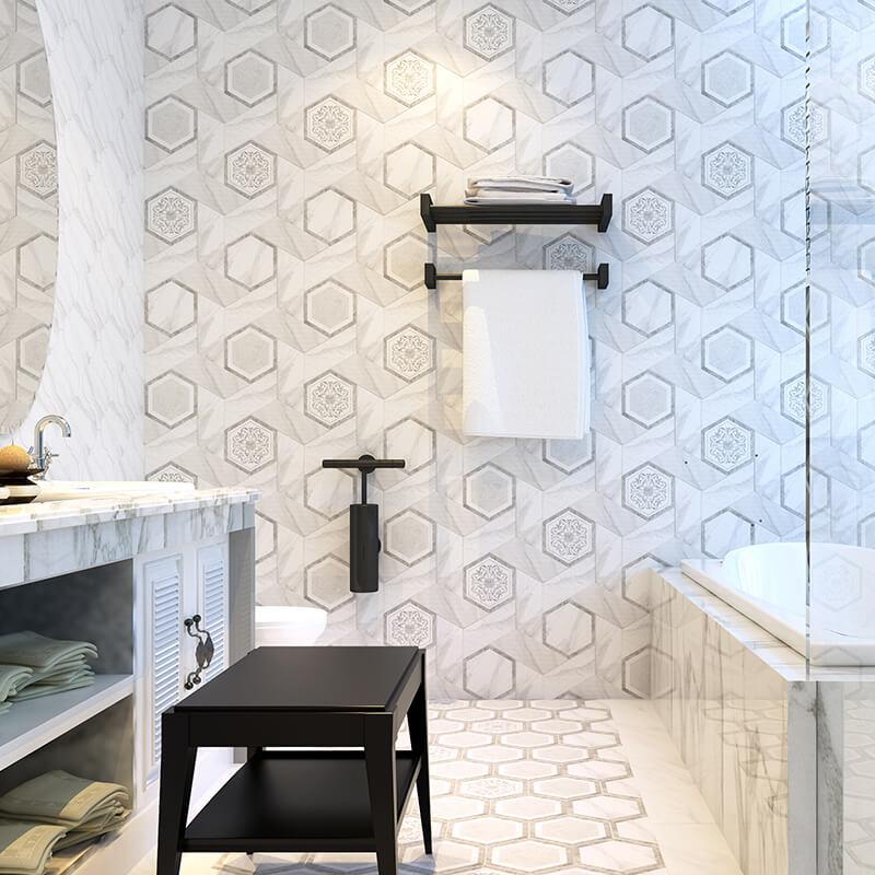 white carrara calacatta statuario marble stone hexagon wall tuile floor kitchen backsplash bathroom shower toronto ontario